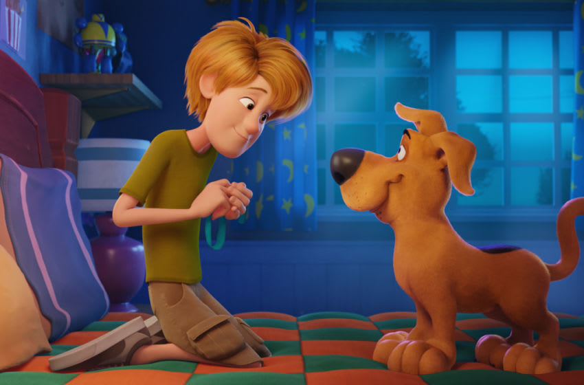 """(L-r) Young Shaggy and young Scooby-Doo in the new animated adventure """"SCOOB!"""" from Warner Bros. Pictures and Warner Animation Group. Courtesy of Warner Bros. Pictures"""
