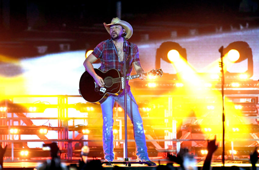 INDIO, CALIFORNIA - APRIL 28: Jason Aldean performs onstage during the 2019 Stagecoach Festival at Empire Polo Field on April 28, 2019 in Indio, California. (Photo by Kevin Winter/Getty Images for Stagecoach)