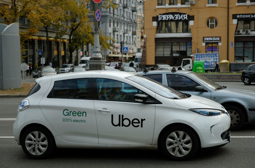 KIEV, UKRAINE - OCTOBER 03: An electric Uber car drives in the city center on October 03, 2019 in Kiev, Ukraine. Uber has established itself firmly in Kiev and is now facing local competitors. (Photo by Sean Gallup/Getty Images)