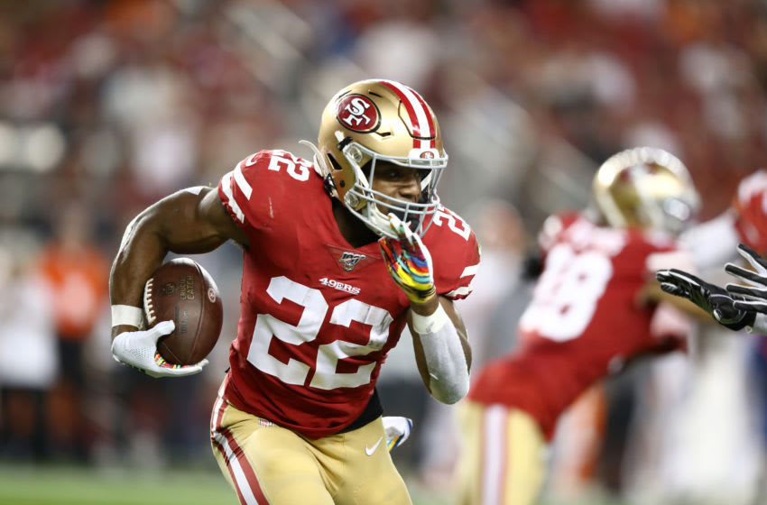 SANTA CLARA, CALIFORNIA - OCTOBER 07: Matt Breida #22 of the San Francisco 49ers in action against the Cleveland Browns at Levi's Stadium on October 07, 2019 in Santa Clara, California. (Photo by Ezra Shaw/Getty Images)