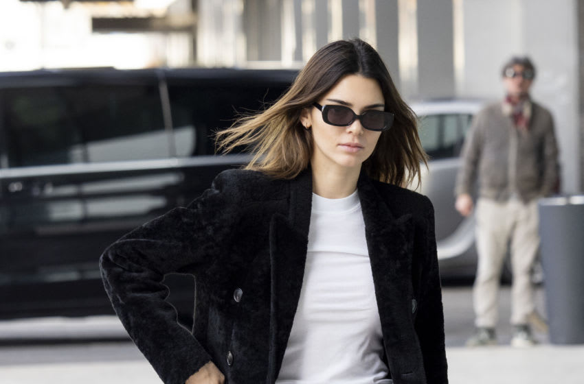 Kendall Jenner is seen during Milan Fashion Week Fall/Winter 2020-2021 (Photo by Arnold Jerocki/Getty Images)