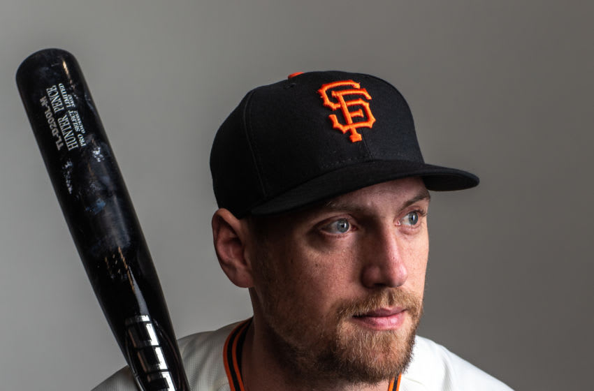 PHOENIX, AZ - FEBRUARY 18: Hunter Pence of the San Francisco Giants poses for a portrait at Scottsdale Stadium, the spring training complex of the San Francisco Giants on February 18, 2020 in Phoenix, Arizona. (Photo by Rob Tringali/Getty Images)