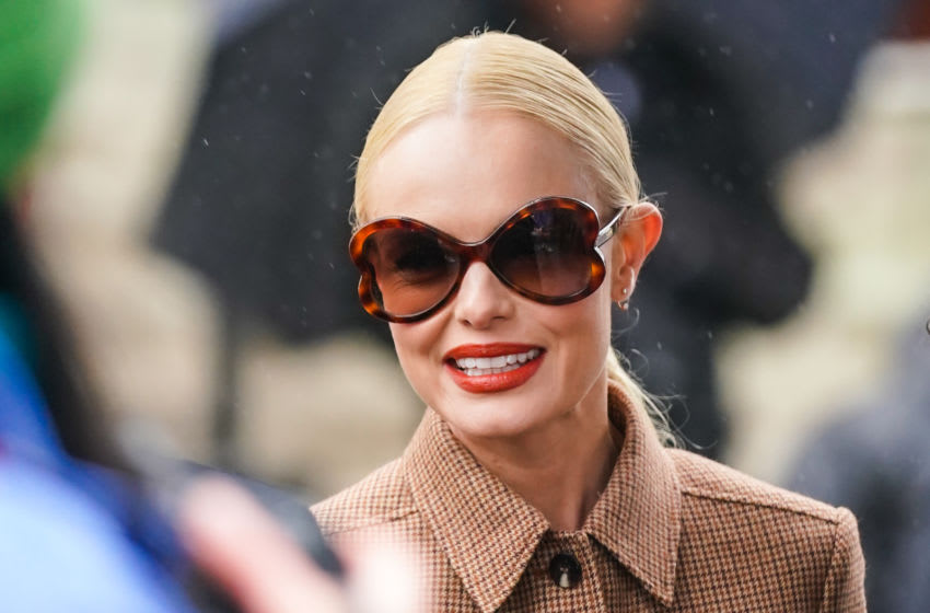 PARIS, FRANCE - FEBRUARY 27: Kate Bosworth wears sunglasses and a brown houndstooth pattern wool jacket, outside Chloe, during Paris Fashion Week - Womenswear Fall/Winter 2020/2021, on February 27, 2020 in Paris, France. (Photo by Edward Berthelot/Getty Images)