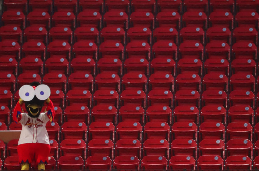 ST LOUIS, MO - AUGUST 22: St. Louis Cardinals mascot Fredbird watches the game between the St. Louis Cardinals and the Cincinnati Reds from the stands at Busch Stadium on August 22, 2020 in St Louis, Missouri. (Photo by Dilip Vishwanat/Getty Images)