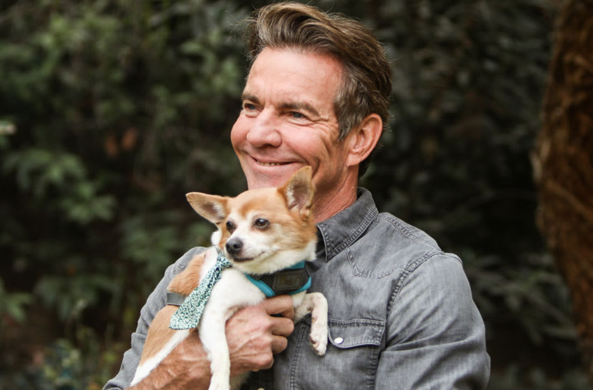 UNIVERSAL CITY, CALIFORNIA - SEPTEMBER 09: Actor Dennis Quaid poses with a rescue dog on the set of Hallmark Channel's