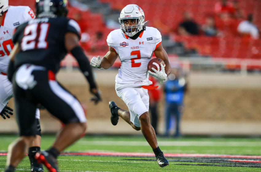 LUBBOCK, TEXAS - SEPTEMBER 12: Running back Ean Beeks #2 of the Houston Baptist Huskies runs the ball during the first half of the college football game against the Texas Tech Red Raiders on September 12, 2020 at Jones AT&T Stadium in Lubbock, Texas. (Photo by John E. Moore III/Getty Images)