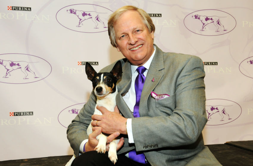 NEW YORK, NY - JANUARY 15: Director of Communications, David Frei poses with a new breed dog Rat Terrier 'Obie' at the 138th Annual Westminster Kennel Club Dog Show press conference at Madison Square Garden on January 15, 2014 in New York City. (Photo by Desiree Navarro/Getty Images)