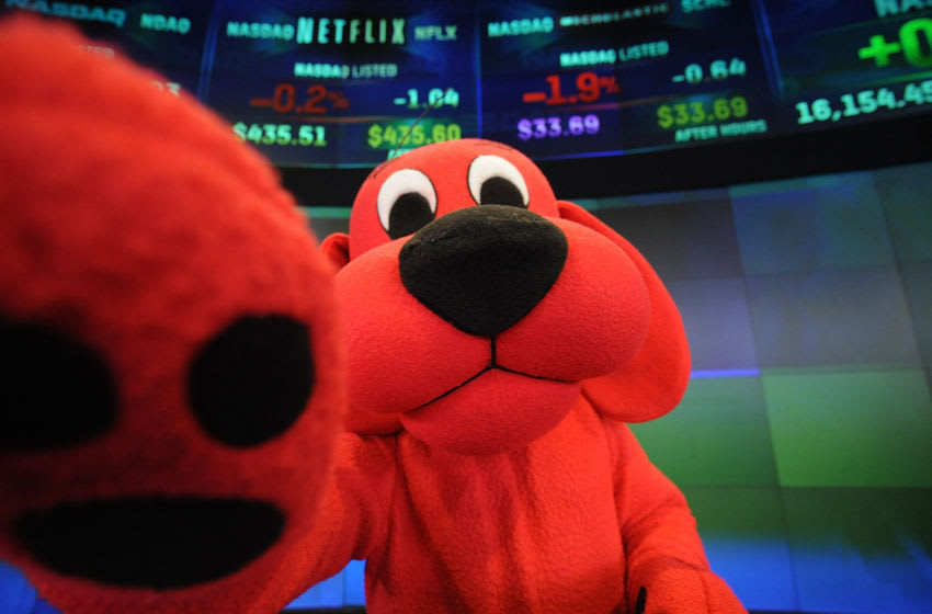 NEW YORK, NY - FEBRUARY 14: Clifford the Big Red Dog attends The NASDAQ Closing Bell at NASDAQ MarketSite on February 14, 2014 in New York City. (Photo by Brad Barket/Getty Images)