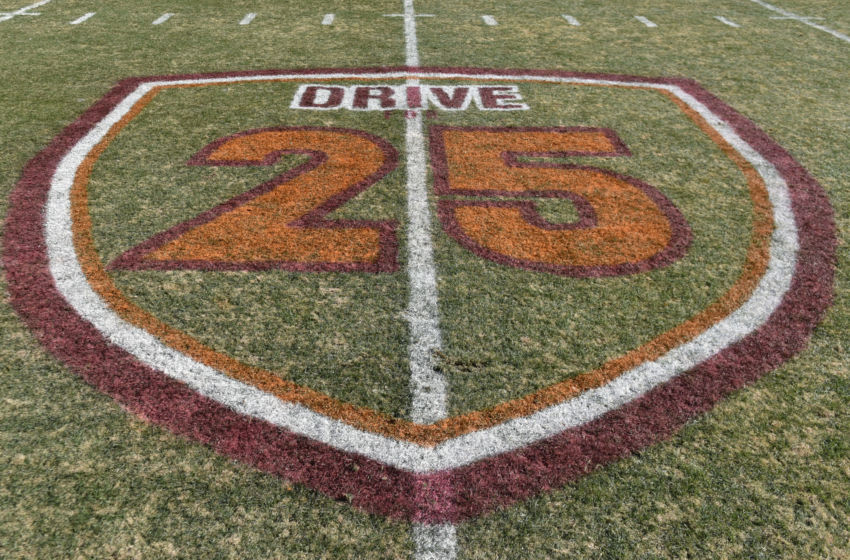 BLACKSBURG, VA - NOVEMBER 26: A detailed view of a field logo used to launch an upcoming athletic department fundraising campaign at Lane Stadium on November 26, 2016 in Blacksburg, Virginia. Each week a different special teams player wears #25 to honor former head coach Frank Beamer. Virginia Tech defeated Virginia 52-10. (Photo by Michael Shroyer/Getty Images) *** Local Caption ***