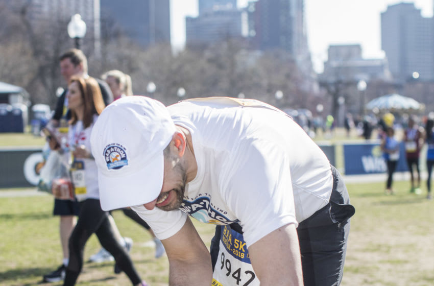 BOSTON, MA - APRIL 14: Guiding Eyes for the Blind President & CEO Thomas Panek completes the BAA 5K guided by his guide dog Gus, kicking off the Guiding Eyes Wag-a-thon on April 14, 2018 in Boston, Massachusetts. (Photo by Scott Eisen/Getty Images for Guiding Eyes for the Blind)