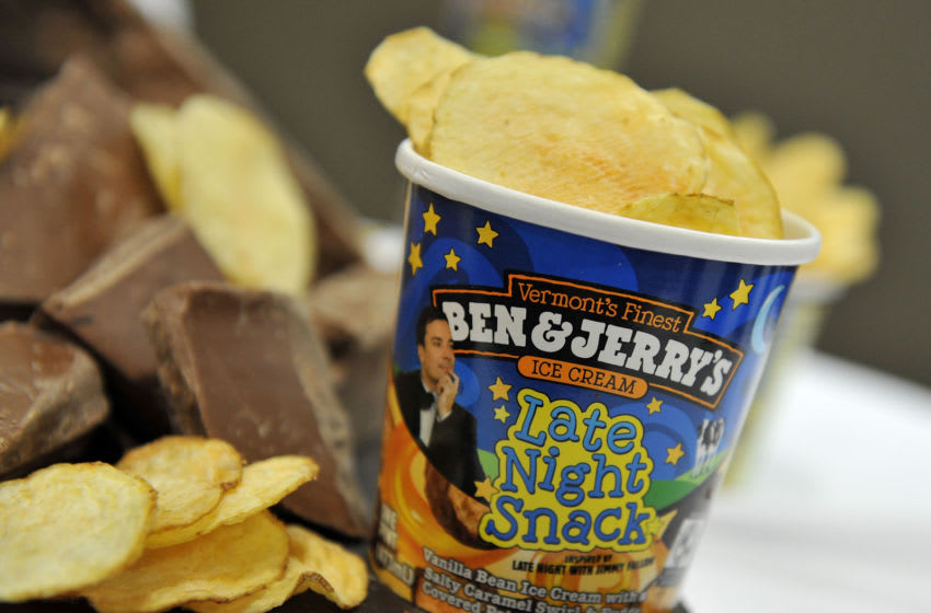 NEW YORK, NY - MARCH 02: Ice cream on display as Jimmy Fallon and Ben & Jerry's co-founders announce