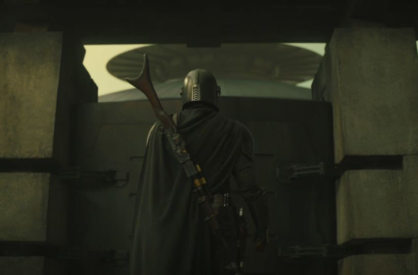 The Mandalorian (Pedro Pascal) and in The Mandalorian season 2. Photo courtesy of Disney+.