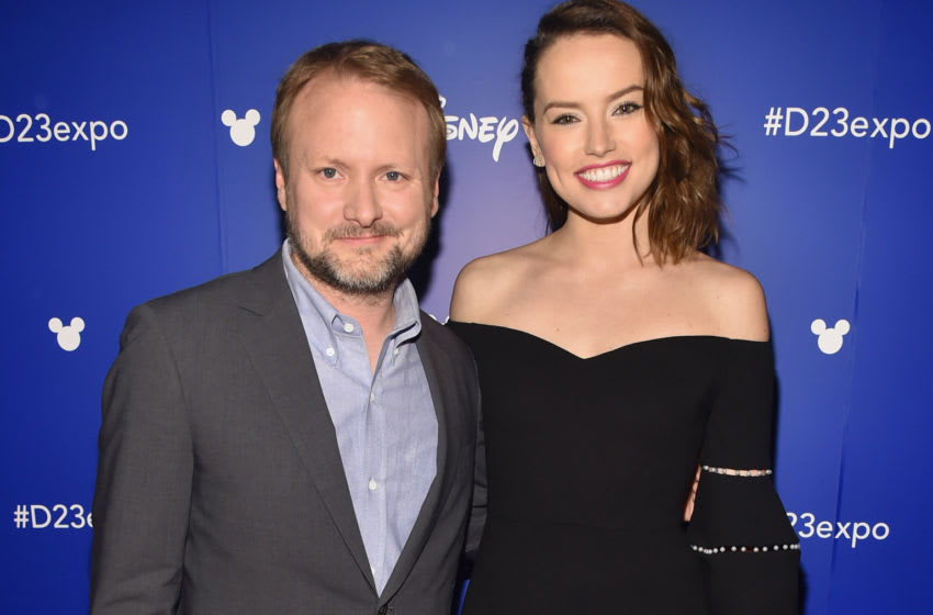 ANAHEIM, CA - JULY 15: Director Rian Johnson (L) and actor Daisy Ridley of STAR WARS: THE LAST JEDI took part today in the Walt Disney Studios live action presentation at Disney's D23 EXPO 2017 in Anaheim, Calif. STAR WARS: THE LAST JEDI will be released in U.S. theaters on December 15, 2017. (Photo by Alberto E. Rodriguez/Getty Images for Disney)