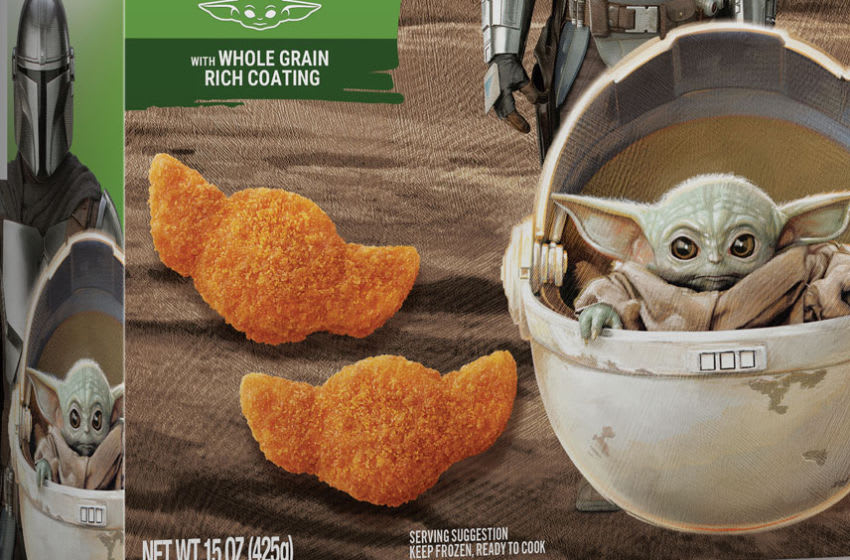 Mandalorian Cheesy Potato Tots featuring Baby Yoda. Photo: Farm Rich.