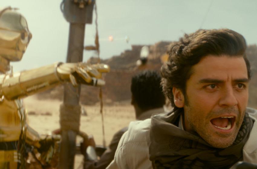 Anthony Daniels is C-3PO, John Boyega is Finn and Oscar Isaac is Poe Dameron in STAR WARS: THE RISE OF SKYWALKER