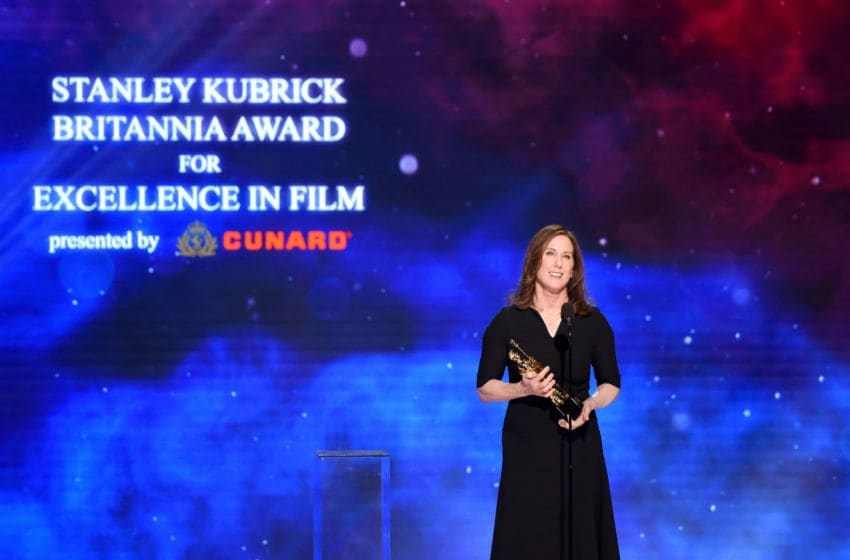 BEVERLY HILLS, CA - OCTOBER 26: Lucasfilm President Kathleen Kennedy presents the Stanley Kubrick Britannia Award for Excellence in Film onstage at the 2018 British Academy Britannia Awards presented by Jaguar Land Rover and American Airlines at The Beverly Hilton Hotel on October 26, 2018 in Beverly Hills, California. (Photo by Vivien Killilea/Getty Images for BAFTA Los Angeles )