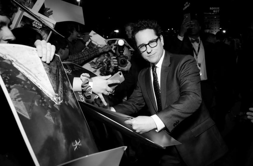 HOLLYWOOD, CALIFORNIA - DECEMBER 16: (EDITORS NOTE: Image has been converted to black and white.) J.J. Abrams attends the Premiere of Disney's