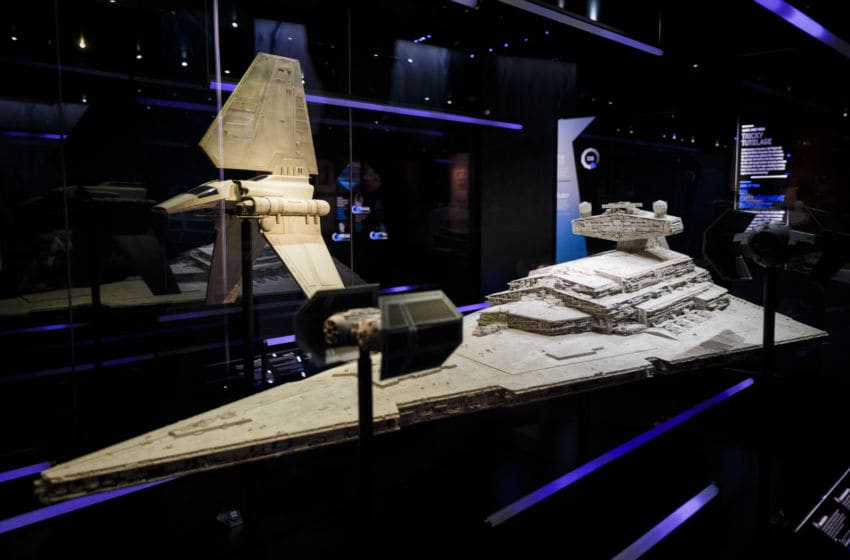 LONDON, ENGLAND - NOVEMBER 11: A model of a Star Destroyer is displayed at the Star Wars Identities exhibition at The O2 Arena on November 11, 2016 in London, England. Star Wars Identities is a brand new exhibition opening at The O2 on 18th of November 2016. (Photo by Tristan Fewings/Getty Images)