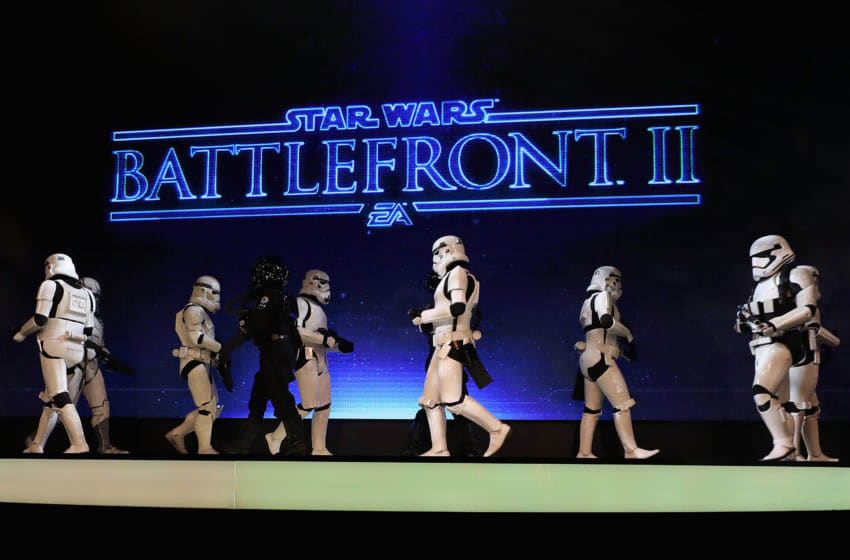 LOS ANGELES, CA - JUNE 10: Stormtoopers march on stage to introduce 'Star Wars Battlefront 2' during the Electronic Arts EA Play event at the Hollywood Palladium on June 10, 2017 in Los Angeles, California. The E3 Game Conference begins on Tuesday June 13. (Photo by Christian Petersen/Getty Images)
