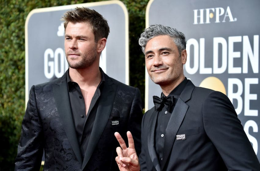 BEVERLY HILLS, CA - JANUARY 07: Chris Hemsworth and Taika Waititi attend The 75th Annual Golden Globe Awards at The Beverly Hilton Hotel on January 7, 2018 in Beverly Hills, California. (Photo by Frazer Harrison/Getty Images)