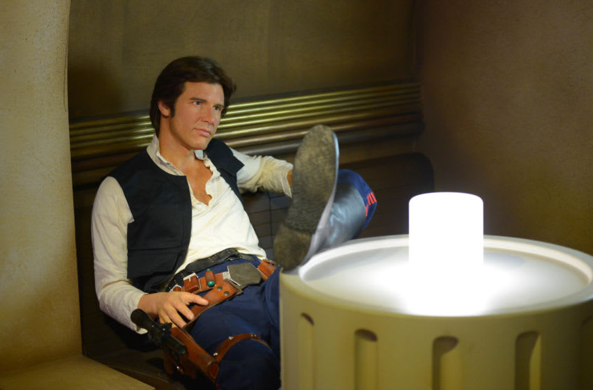 LONDON, ENGLAND - MAY 12: A wax figure of Star Wars character Han Solo on display at 'Star Wars At Madame Tussauds' on May 12, 2015 in London, England. (Photo by Stuart C. Wilson/Getty Images)