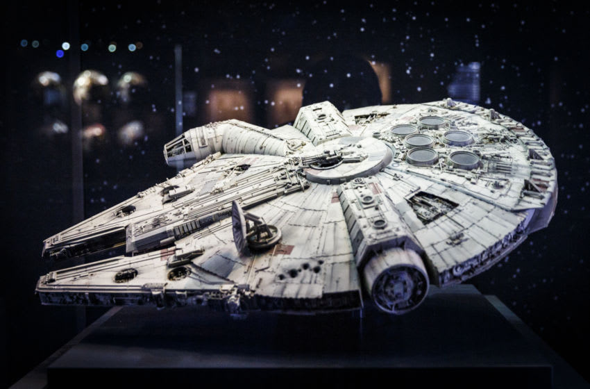 LONDON, ENGLAND - NOVEMBER 11: An original model of the Millennium Falcon is displayed at the Star Wars Identities exhibition at The O2 Arena on November 11, 2016 in London, England. Star Wars Identities is a brand new exhibition opening at The O2 on 18th of November 2016. (Photo by Tristan Fewings/Getty Images)