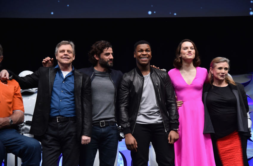 ANAHEIM, CA - APRIL 16: (L-R) Actors Mark Hamill, Oscar Isaac, John Boyega, Daisy Ridley and Carrie Fisher speak onstage during Star Wars Celebration 2015 on April 16, 2015 in Anaheim, California. (Photo by Alberto E. Rodriguez/Getty Images for Disney)