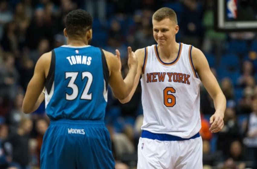 Feb 20, 2016; Minneapolis, MN, USA; New York Knicks forward Kristaps Porzingis (6) greets Minnesota Timberwolves center Karl-Anthony Towns (32) prior to the game at Target Center. The Knicks defeated the Timberwolves 103-95. Mandatory Credit: Brace Hemmelgarn-USA TODAY Sports