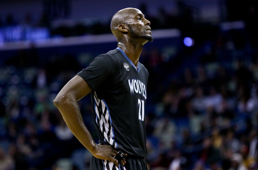 Jan 19, 2016; New Orleans, LA, USA; Minnesota Timberwolves forward Kevin Garnett (21) against the New Orleans Pelicans during the second quarter of a game at the Smoothie King Center. Mandatory Credit: Derick E. Hingle-USA TODAY Sports