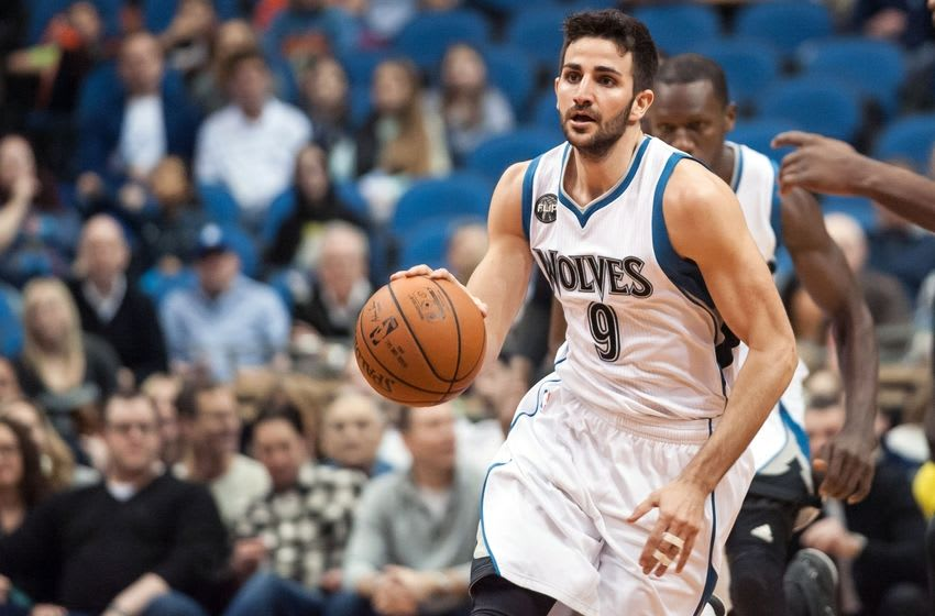 Mar 5, 2016; Minneapolis, MN, USA; Minnesota Timberwolves guard Ricky Rubio (9) brings the ball up court during the first quarter against the Brooklyn Nets at Target Center. Mandatory Credit: Jeffrey Becker-USA TODAY Sports