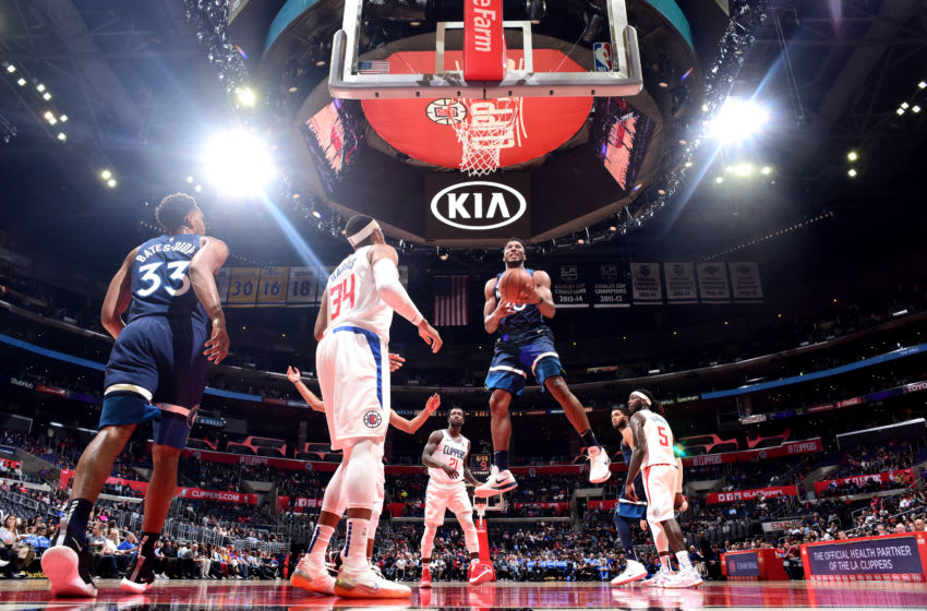 LOS ANGELES, CA - OCTOBER 3: Josh Okogie #20 of the Minnesota Timberwolves shoots the ball against the LA Clippers. Copyright 2018 NBAE (Photo by Andrew D. Bernstein/NBAE via Getty Images)