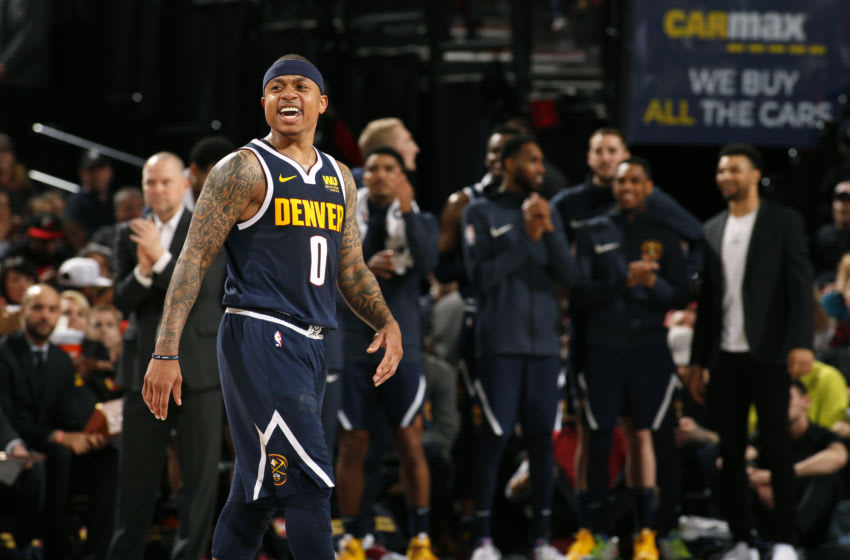 PORTLAND, OR - APRIL 7: Isaiah Thomas #0 of the Denver Nuggets reacts to a play during the game against the Portland Trail Blazers on April 7, 2019 at the Moda Center Arena in Portland, Oregon. NOTE TO USER: User expressly acknowledges and agrees that, by downloading and/or using this photograph, user is consenting to the terms and conditions of the Getty Images License Agreement. Mandatory Copyright Notice: Copyright 2019 NBAE (Photo by Cameron Browne/NBAE via Getty Images)