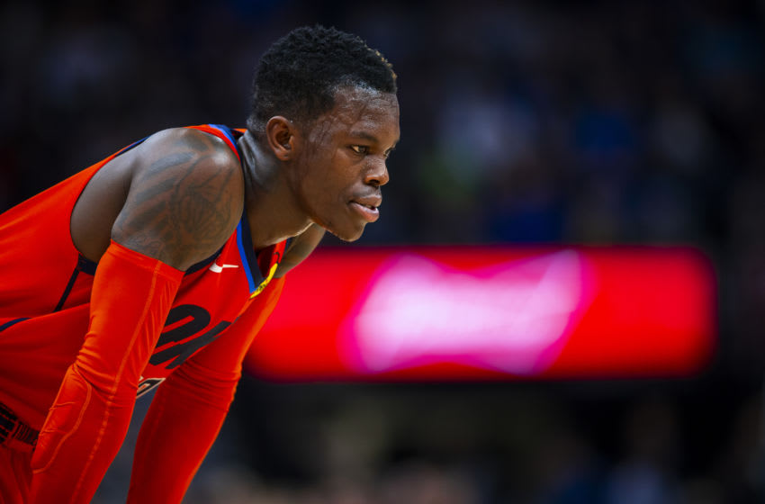 MINNEAPOLIS, MN - APRIL 7: Dennis Schroder #17 of the Oklahoma City Thunder looks on against the Minnesota Timberwolves on April 7, 2019 at Target Center in Minneapolis, Minnesota. NOTE TO USER: User expressly acknowledges and agrees that, by downloading and/or using this photograph, user is consenting to the terms and conditions of the Getty Images License Agreement. Mandatory Copyright Notice: Copyright 2019 NBAE (Photo by Zach Beeker/NBAE via Getty Images)