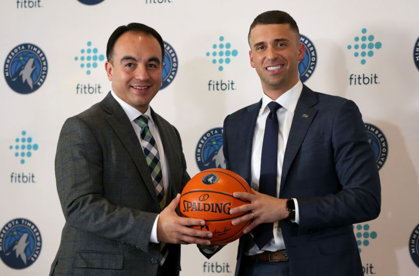 MINNEAPOLIS, MN - MAY 21: President of Basketball Operations Gersson Rosas and Head Coach Ryan Saunders of the Minnesota Timberwolves. Copyright 2019 NBAE (Photo by David Sherman/NBAE via Getty Images)