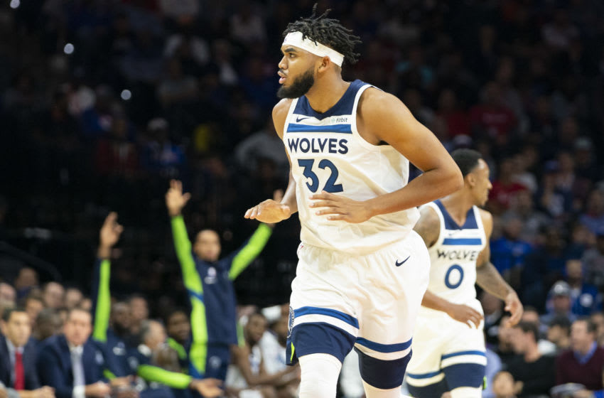 PHILADELPHIA, PA - OCTOBER 30: Karl-Anthony Towns #32 of the Minnesota Timberwolves reacts after making a basket against the Philadelphia 76ers in the first quarter at the Wells Fargo Center on October 30, 2019 in Philadelphia, Pennsylvania. The 76ers defeated the Wolves 117-95. NOTE TO USER: User expressly acknowledges and agrees that, by downloading and or using this photograph, User is consenting to the terms and conditions of the Getty Images License Agreement. (Photo by Mitchell Leff/Getty Images)