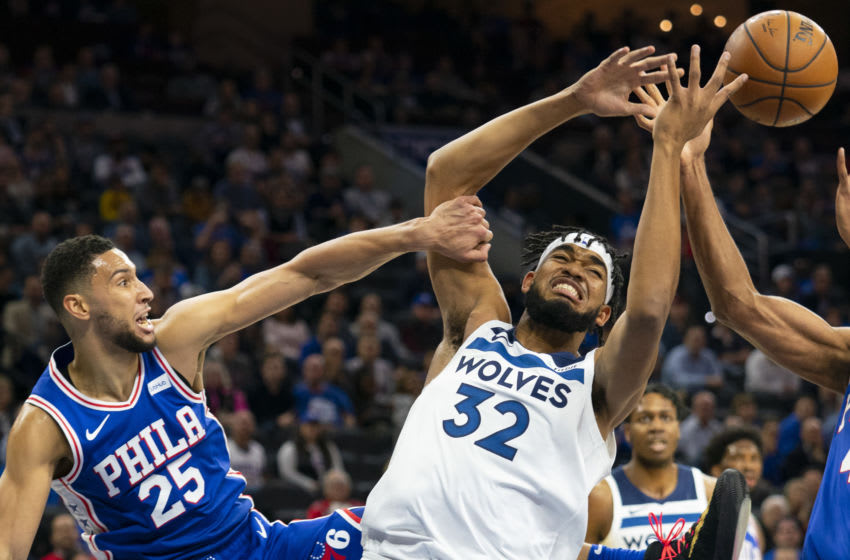 Ben Simmons of the Philadelphia 76ers and Karl-Anthony Towns of the Minnesota Timberwolves. (Photo by Mitchell Leff/Getty Images)