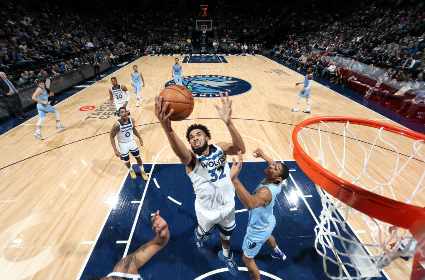 MINNEAPOLIS, MN - DECEMBER 1: Karl-Anthony Towns #32 of the Minnesota Timberwolves drives to the basket during a game against the Memphis Grizzlies. Copyright 2019 NBAE (Photo by David Sherman/NBAE via Getty Images)