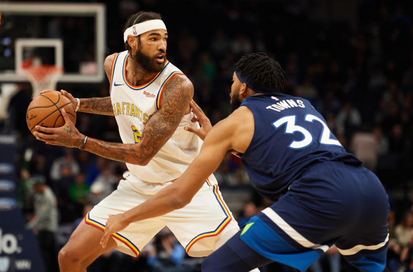 MINNEAPOLIS, MINNESOTA - NOVEMBER 08: Willie Cauley-Stein #2 of the Golden State Warriors has the ball against Karl-Anthony Towns #32 of the Minnesota Timberwolves during the game at Target Center on November 8, 2019 in Minneapolis, Minnesota. NOTE TO USER: User expressly acknowledges and agrees that, by downloading and or using this Photograph, user is consenting to the terms and conditions of the Getty Images License Agreement (Photo by Hannah Foslien/Getty Images)