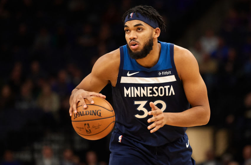 Karl-Anthony Towns of the Minnesota Timberwolves. (Photo by Hannah Foslien/Getty Images)