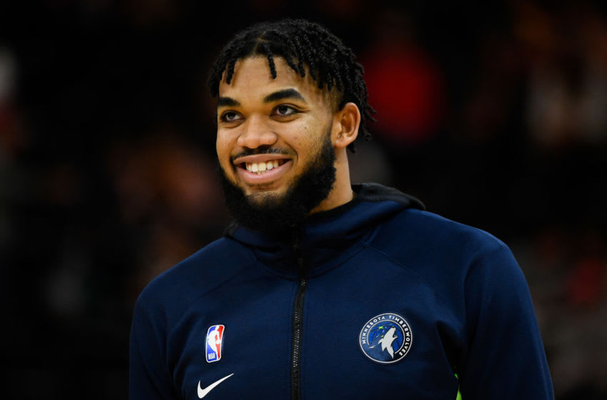 Karl-Anthony Towns of the Minnesota Timberwolves. (Photo by Alex Goodlett/Getty Images)