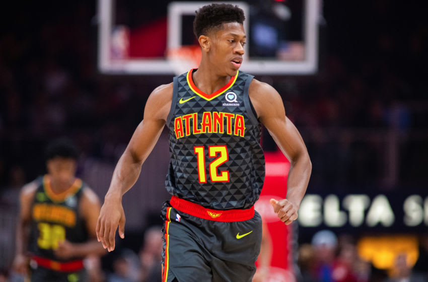 De'Andre Hunter of the Atlanta Hawks in action during a game against the Minnesota Timberwolves. (Photo by Carmen Mandato/Getty Images)