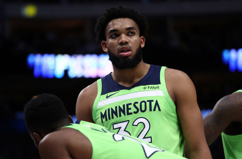 DALLAS, TEXAS - DECEMBER 04: Karl-Anthony Towns #32 of the Minnesota Timberwolves at American Airlines Center on December 04, 2019 in Dallas, Texas. NOTE TO USER: User expressly acknowledges and agrees that, by downloading and or using this photograph, User is consenting to the terms and conditions of the Getty Images License Agreement. (Photo by Ronald Martinez/Getty Images) (Photo by Ronald Martinez/Getty Images)