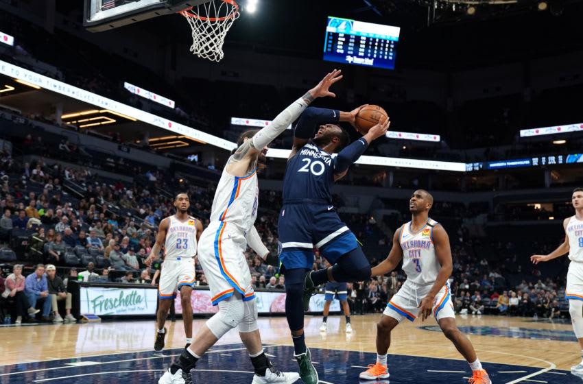 MINNEAPOLIS, MN - JANUARY 13: Josh Okogie #20 of the Minnesota Timberwolves drives to the basket during against the Oklahoma City Thunder. Copyright 2020 NBAE (Photo by Jordan Johnson/NBAE via Getty Images)