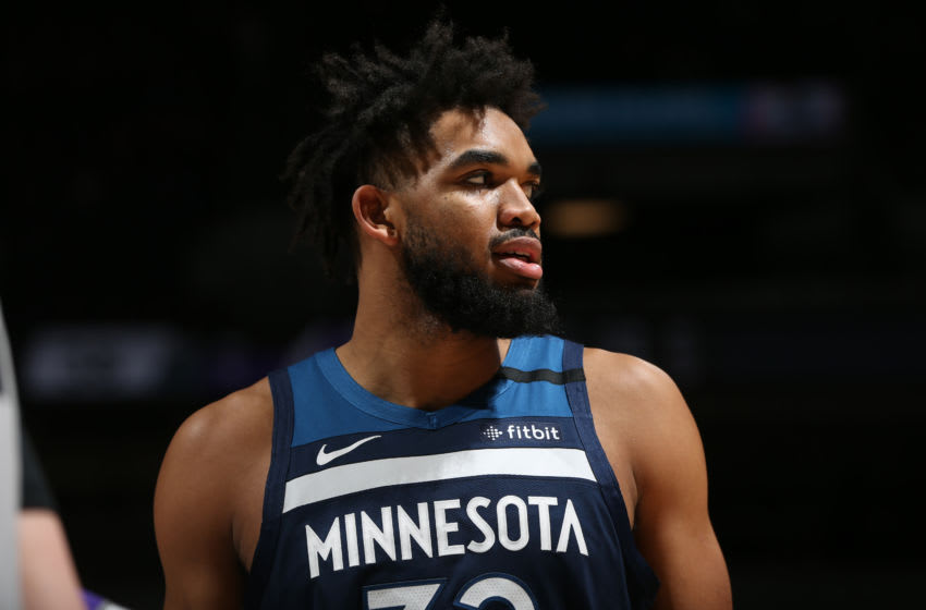 MINNEAPOLIS, MN - JANUARY 27: Karl-Anthony Towns #32 of the Minnesota Timberwolves looks on during a game against the Sacramento Kings. Copyright 2020 NBAE (Photo by David Sherman/NBAE via Getty Images)