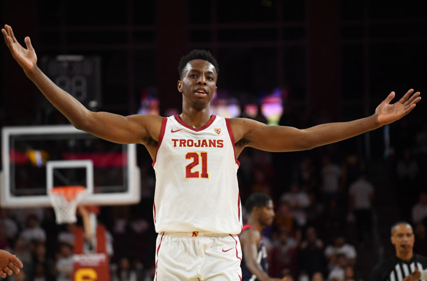 LOS ANGELES, CA - FEBRUARY 27: Onyeka Okongwu #21 of the USC Trojans acknowledges the crowd after defeating the Arizona Wildcats 57-48 at Galen Center on February 27, 2020 in Los Angeles, California. (Photo by Jayne Kamin-Oncea/Getty Images)