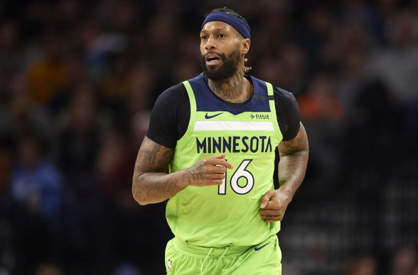 MINNEAPOLIS, MINNESOTA - FEBRUARY 08: James Johnson #16 of the Minnesota Timberwolves. (Photo by Hannah Foslien/Getty Images)