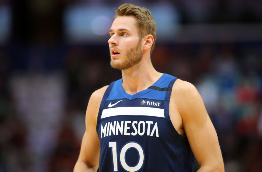NEW ORLEANS, LOUISIANA - MARCH 03: Jake Layman #10 of the Minnesota Timberwolves. (Photo by Jonathan Bachman/Getty Images)