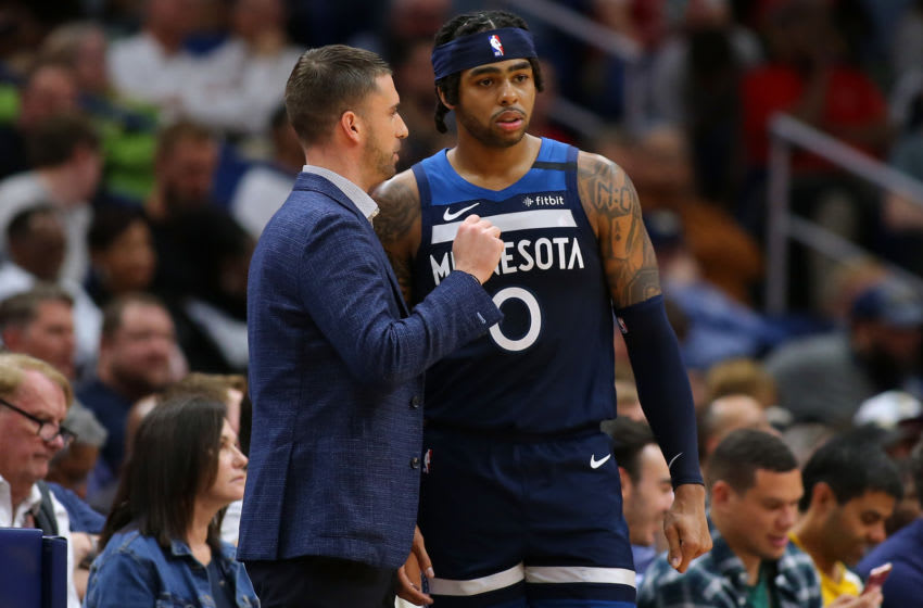D'Angelo Russell of the Minnesota Timberwolves talks to Ryan Saunders. (Photo by Jonathan Bachman/Getty Images)