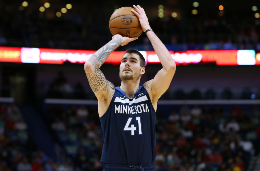 Juan Hernangomez of the Minnesota Timberwolves is an option to bring back in free agency. (Photo by Jonathan Bachman/Getty Images)