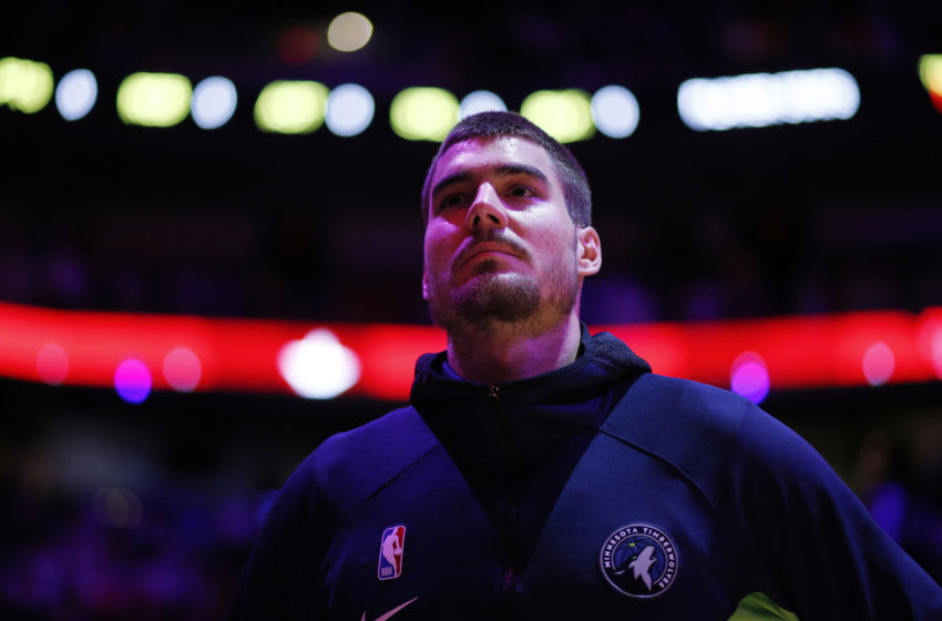 MIAMI, FLORIDA - FEBRUARY 26: Juan Hernangomez #41 of the Minnesota Timberwolves looks on prior to the game against the Miami Heat at American Airlines Arena on February 26, 2020 in Miami, Florida. NOTE TO USER: User expressly acknowledges and agrees that, by downloading and/or using this photograph, user is consenting to the terms and conditions of the Getty Images License Agreement. (Photo by Michael Reaves/Getty Images)